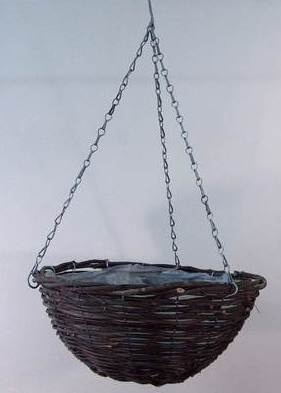 "Black Rattan 14"" Round Hanging Basket 20/pack Pots Containers & Baskets > Rattan Baskets"